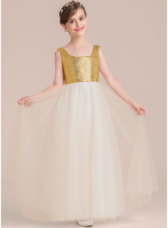 A-Linie/Princess-Linie Rechteckiger Ausschnitt Bodenlang Tüll Kleid für junge Brautjungfern mit Perlstickerei Blumen