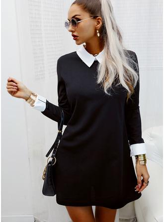 Color Block Shiftklänningar Långa ärmar Mini Elegant Tunika Modeklänningar