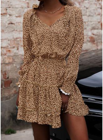 Leopardo Vestido línea A Manga Larga Mini Casual Patinador Vestidos de moda