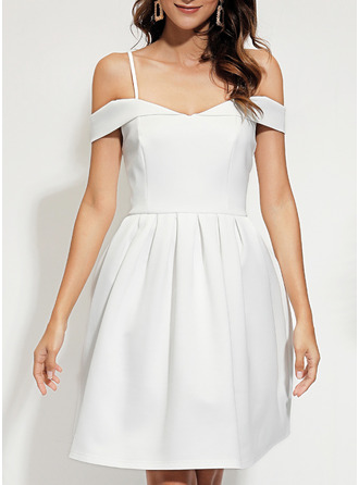 Solid A-line Cold Shoulder Sleeve Short Sleeves Midi Party Elegant Skater Dresses