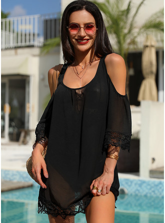 Lace Solid Shift 3/4 Sleeves Cold Shoulder Sleeve Mini Little Black Casual Vacation Tunic Dresses