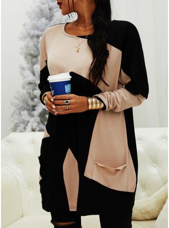 Color Block Round Neck Long Sleeves Sweatshirt (1001254024)