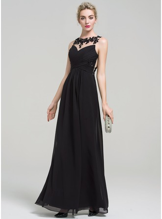 A-Line/Princess Scoop Neck Floor-Length Chiffon Prom Dress With Lace Beading Sequins