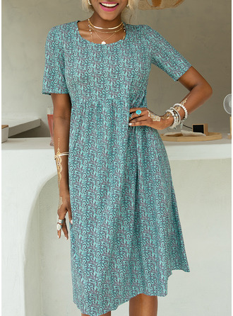 Print A-line Short Sleeves Midi Casual Vacation Skater Dresses