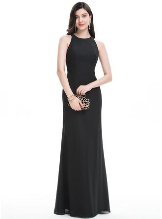 A-Line/Princess Scoop Neck Floor-Length Chiffon Prom Dress