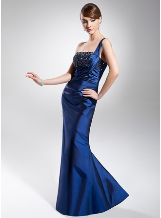 Trumpet/Mermaid One-Shoulder Floor-Length Taffeta Evening Dress With Ruffle Beading