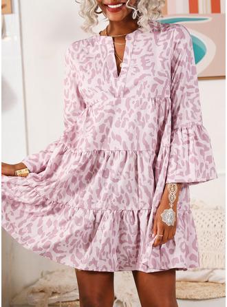 Print Shift Flare Sleeve Long Sleeves Midi Casual Dresses