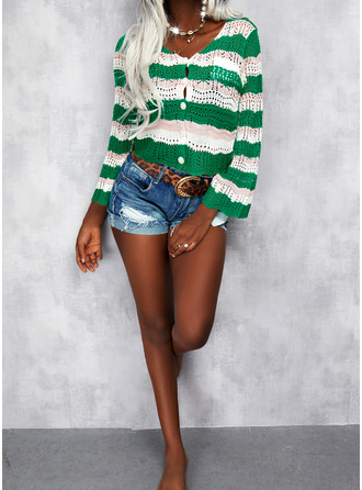V-Neck Casual Print Striped Sweaters