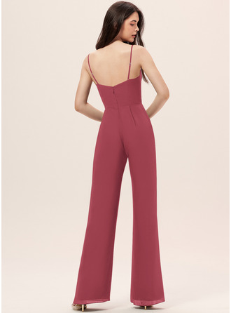Jumpsuit/Pantsuit V-neck Floor-Length Chiffon Bridesmaid Dress With Ruffle