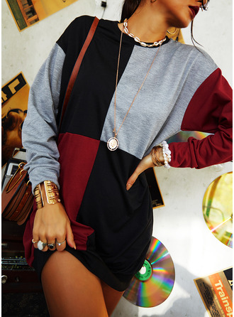 Color Block Shift Long Sleeves Mini Casual Sweatshirt Dresses