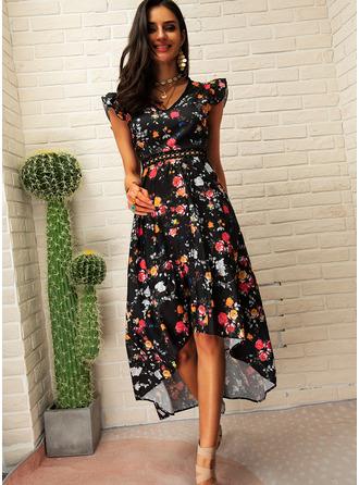 Sukienka Trapezowa Rękawy z kapturkami Asymetryczny Modne Suknie