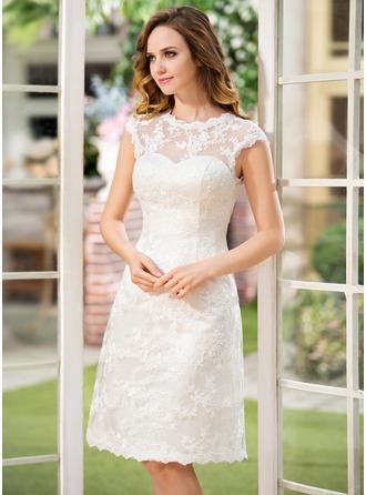 A-Linje Rund-urringning Knälång Spets Bröllopsklänning