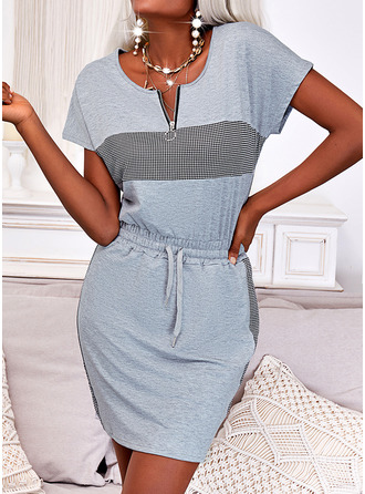 Plaid Print Sheath Short Sleeves Mini Casual Dresses