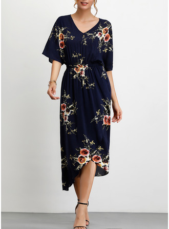 Floral Print A-line 1/2 Sleeves Asymmetrical Casual Dresses