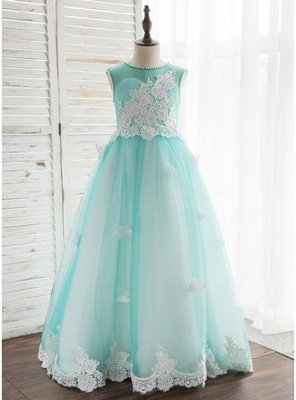 Vestidos princesa/ Formato A Longos Vestidos de Menina das Flores - Tule/Renda Sem magas Decote redondo com Beading