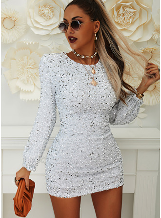 Sequins Solid Bodycon Lantern Sleeve Long Sleeves Mini Party Elegant Dresses