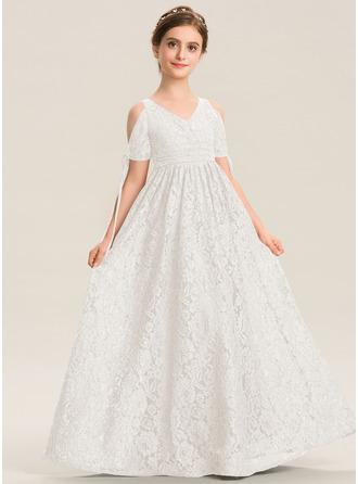 A-Linie V-Ausschnitt Bodenlang Spitze Kleider für junge Brautjungfern mit Rüschen Schleife(n)