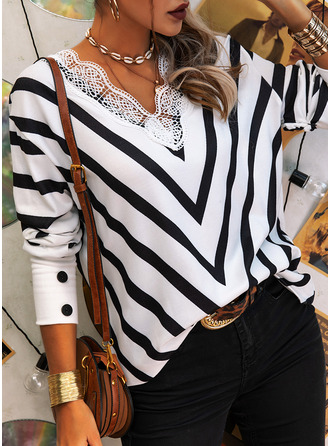 V-Neck Casual Lace Striped Sweaters