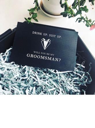 Groomsmen Gaver - Elegant Kort papir Bryllupsdagskort