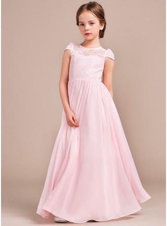 Forme Princesse Longueur ras du sol Robes à Fleurs pour Filles - Mousseline/Dentelle Sans manches Col rond