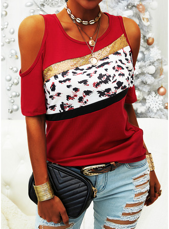 Leopard Sequins Cold Shoulder Short Sleeves Casual Blouses