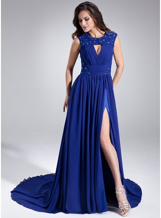 A-Line/Princess Scoop Neck Chapel Train Chiffon Holiday Dress With Ruffle Beading Sequins Split Front