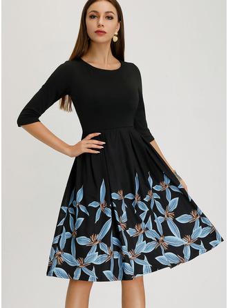 Print A-line 1/2 Sleeves Midi Vintage Elegant Dresses