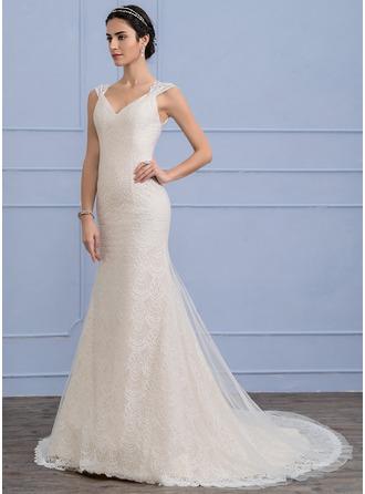 Trumpet/Mermaid Court Train Tulle Lace Wedding Dress