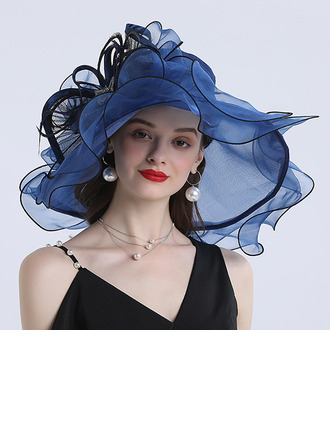 Ladies' Hottest/Romantic Organza With Silk Flower Beach/Sun Hats/Tea Party Hats