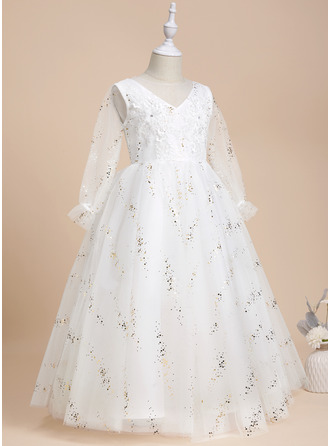 Ball-Gown/Princess Scoop Neck Floor-length With Beading Tulle/Lace/Sequined Flower Girl Dress