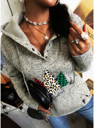 Print Leopard Long Sleeves Christmas Sweatshirt
