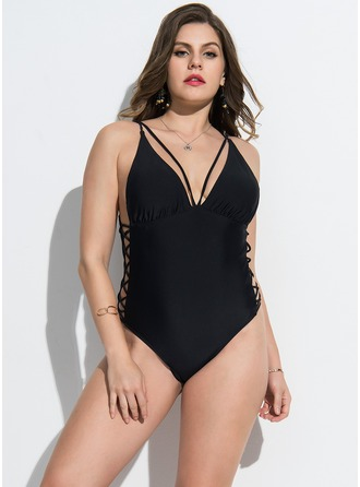 Fashional Solid Color Polyester One-piece Swimsuit