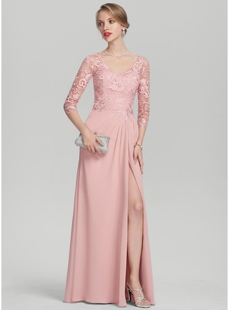 A-Line/Princess V-neck Floor-Length Chiffon Lace Mother of the Bride Dress With Ruffle Split Front