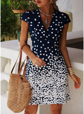 Print Sheath Short Sleeves Midi Casual Vacation Dresses