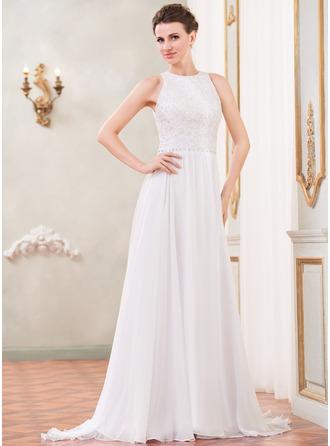A-linjeformat Rund-urringning Sweep släp Chiffong Spetsar Bröllopsklänning med Pärlbrodering Paljetter