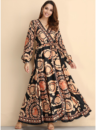 Print A-line Long Sleeves Maxi Party Vintage Wrap Dresses
