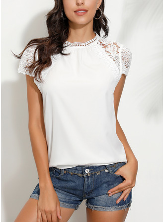 Lace Patchwork Solid Round Neck Short Sleeves Casual