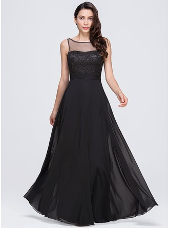 A-Line/Princess Scoop Neck Floor-Length Chiffon Evening Dress With Ruffle Bow(s)