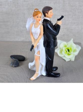 """""""Secret Agents"""" Resin Wedding Cake Topper"""