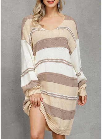 One Shoulder Casual Long Color Block Cable-knit Chunky knit Sweaters