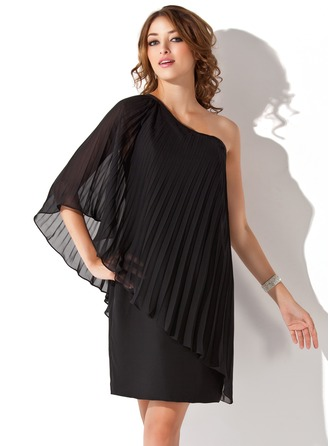 Sheath/Column One-Shoulder Knee-Length Chiffon Cocktail Dress With Pleated