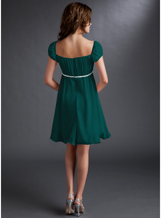 Empire Square Neckline Short/Mini Chiffon Homecoming Dress With Ruffle Beading Sequins Bow(s)