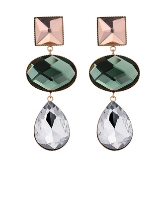Classic Alloy Glass Women's Fashion Earrings