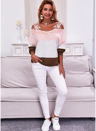 Color Block Cold Shoulder Long Sleeves Sweatshirt