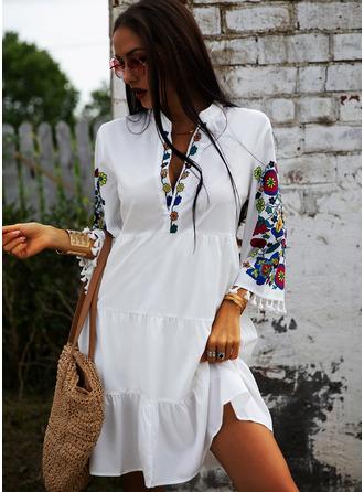 Floral Print Shift 3/4 Sleeves Midi Casual Vacation Tunic Dresses