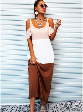 Color Block Shift 1/2 Sleeves Maxi Casual Vacation Dresses