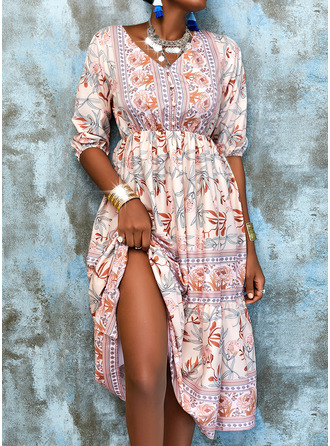 Floral Print A-line 3/4 Sleeves Midi Boho Casual Vacation Skater Dresses