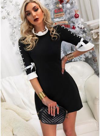 Color Block Åtsittande 1/2 ärmar Mini Elegant Modeklänningar
