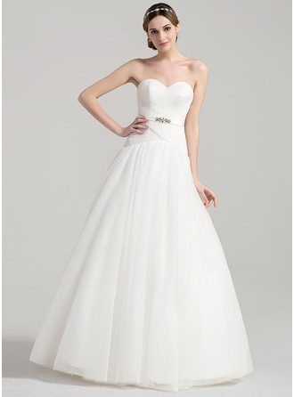 Ball-Gown Sweetheart Floor-Length Tulle Wedding Dress With Ruffle Beading