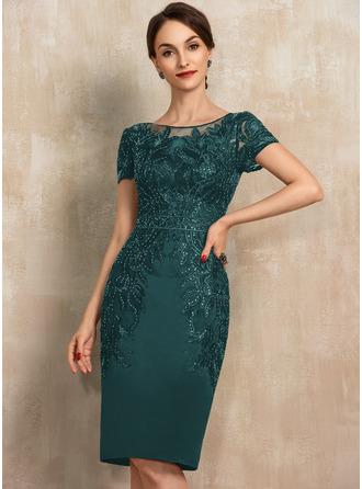 Платье-чехол Круглый Длина до колен Атлас Кружева Платье Для Матери Невесты с блестки